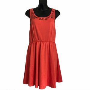 NWOT PEARL Lace top and back coral color dress